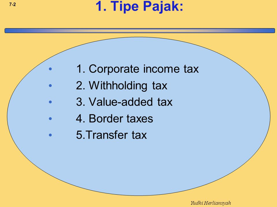 1. Tipe Pajak: 1. Corporate income tax 2. Withholding tax
