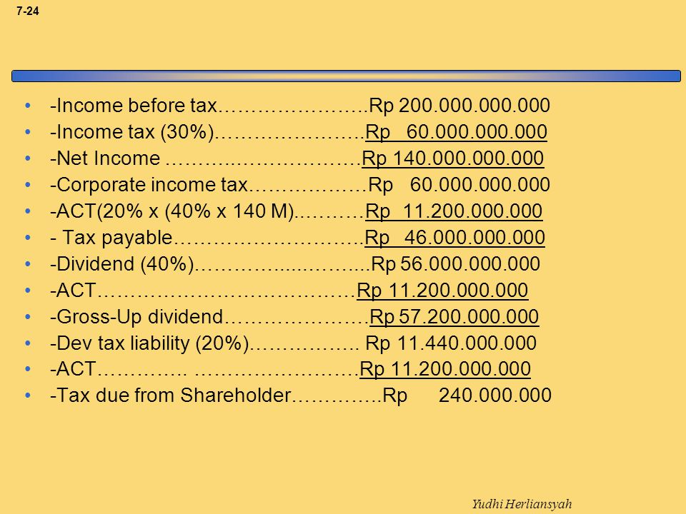 -Income before tax…………………..Rp 200.000.000.000