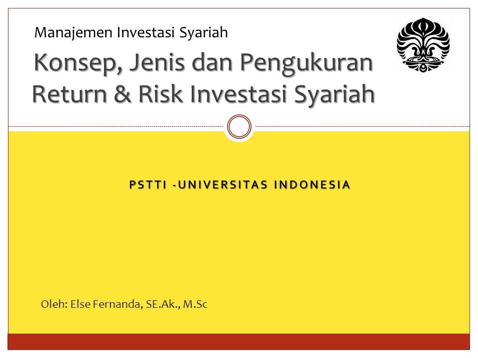 Konsep, Jenis dan Pengukuran Return & Risk Investasi Syariah