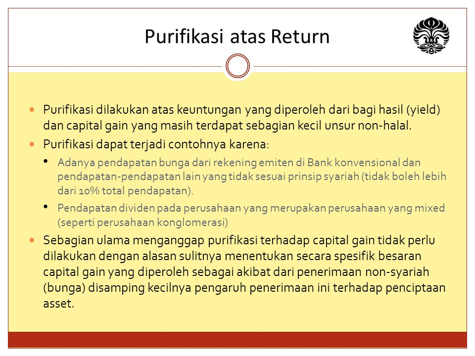 Purifikasi atas Return