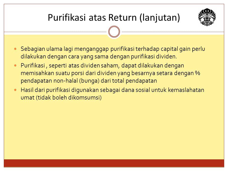 Purifikasi atas Return (lanjutan)