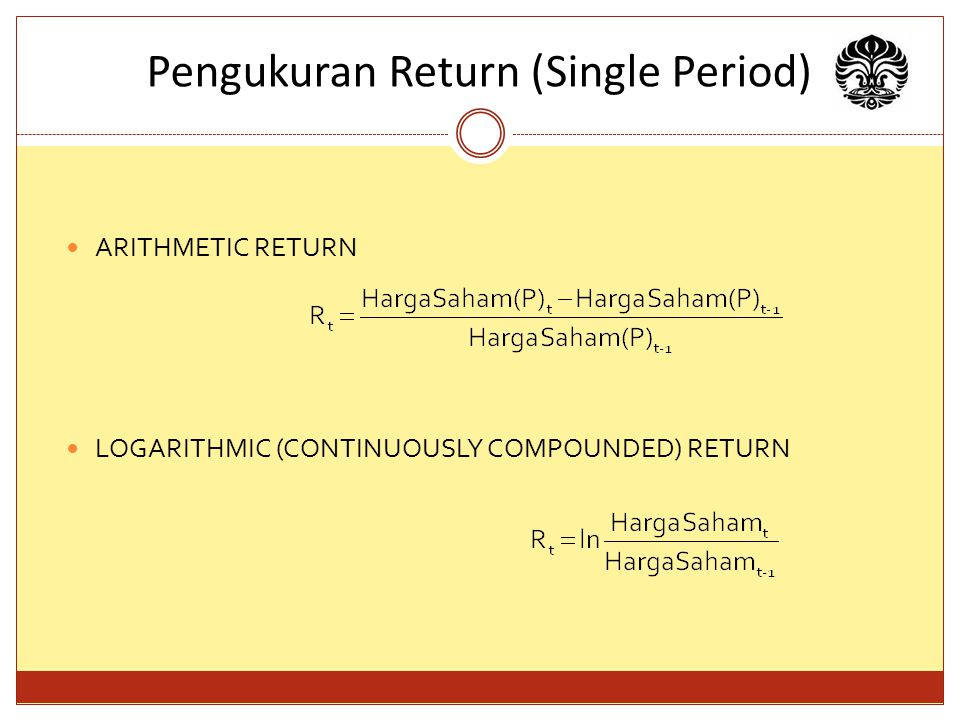 Pengukuran Return (Single Period)