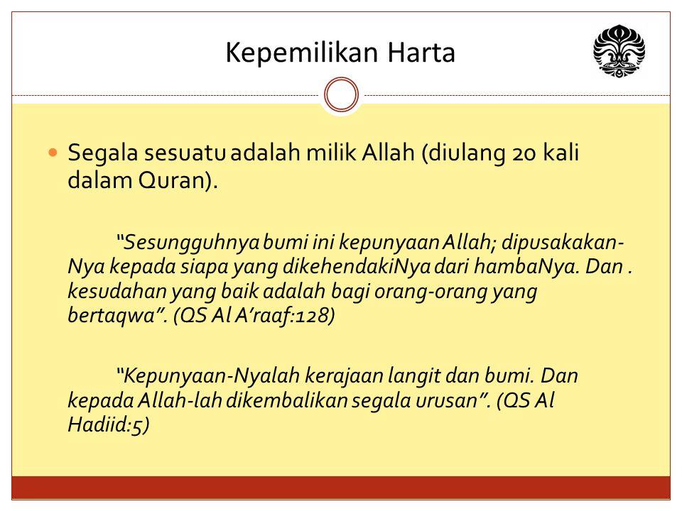 Kepemilikan Harta Segala sesuatu adalah milik Allah (diulang 20 kali dalam Quran).