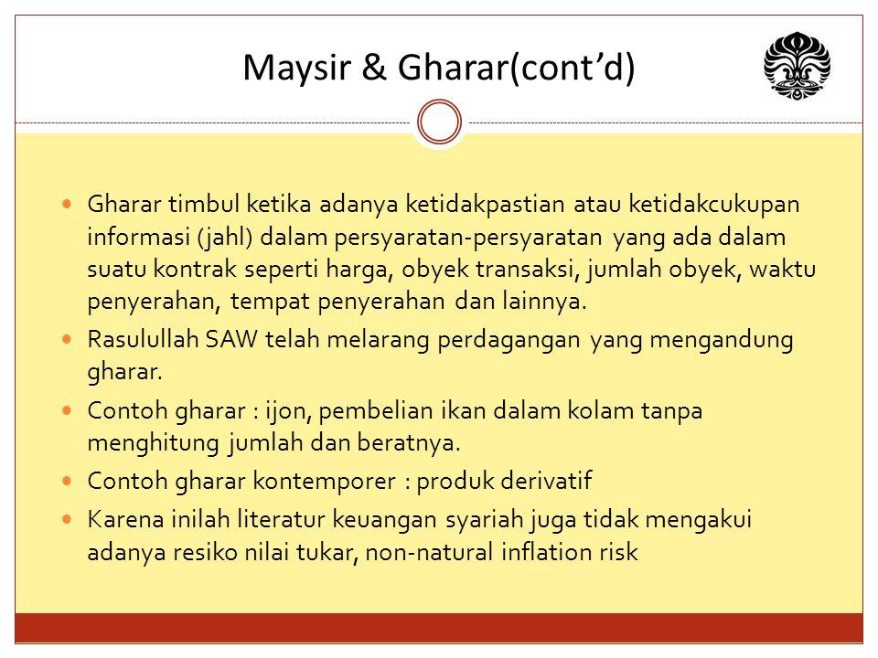 Maysir & Gharar(cont'd)