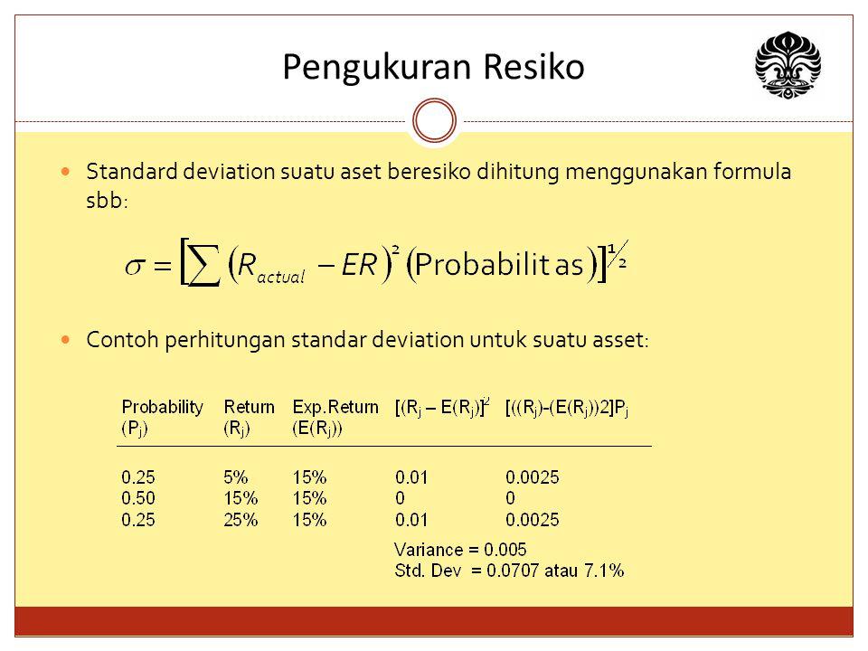 Pengukuran Resiko Standard deviation suatu aset beresiko dihitung menggunakan formula sbb: Contoh perhitungan standar deviation untuk suatu asset: