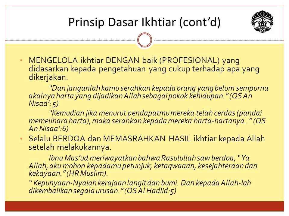 Prinsip Dasar Ikhtiar (cont'd)