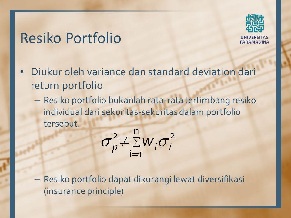 Resiko Portfolio Diukur oleh variance dan standard deviation dari return portfolio.