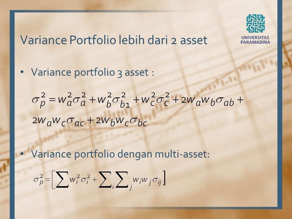 Variance Portfolio lebih dari 2 asset