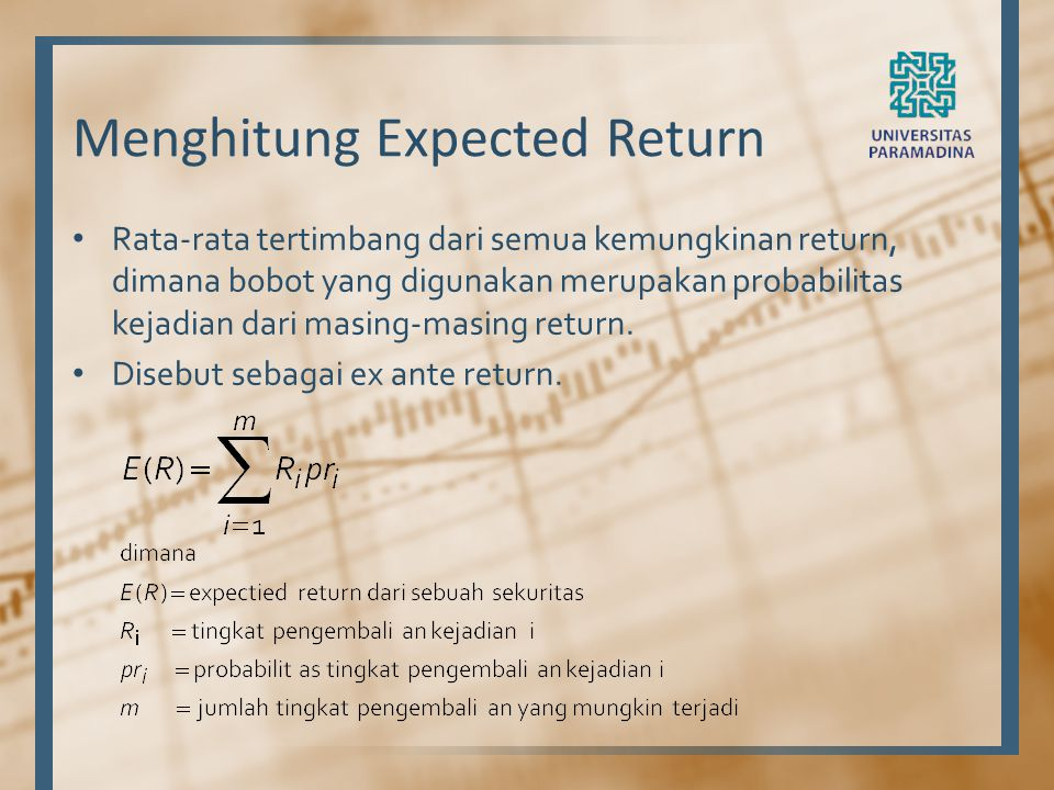 Menghitung Expected Return