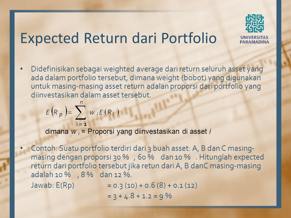 Expected Return dari Portfolio