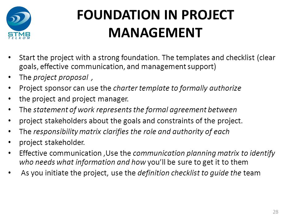 FOUNDATION IN PROJECT MANAGEMENT