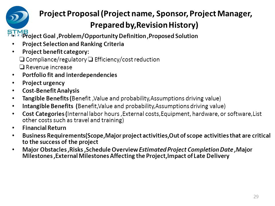 Project Proposal (Project name, Sponsor, Project Manager, Prepared by,Revision History)
