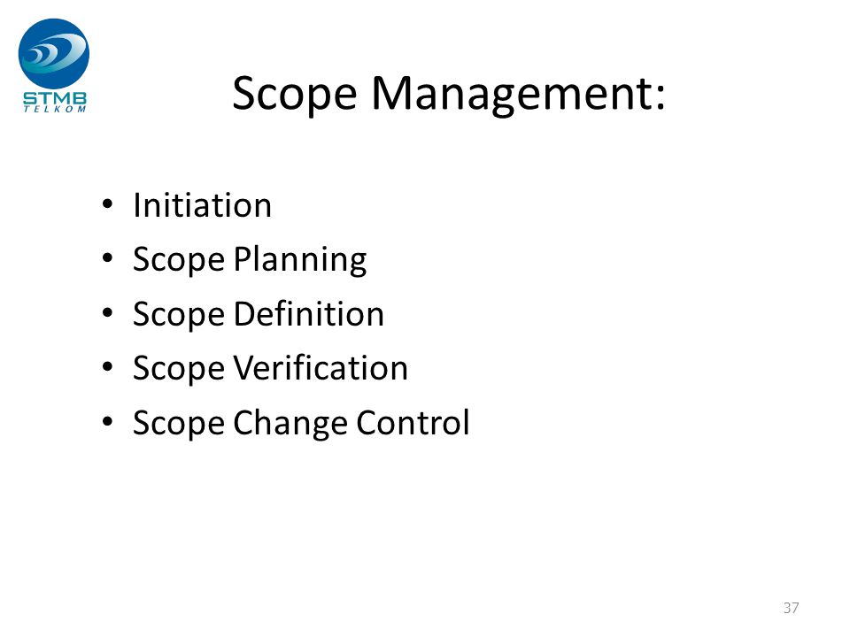 Scope Management: Initiation Scope Planning Scope Definition