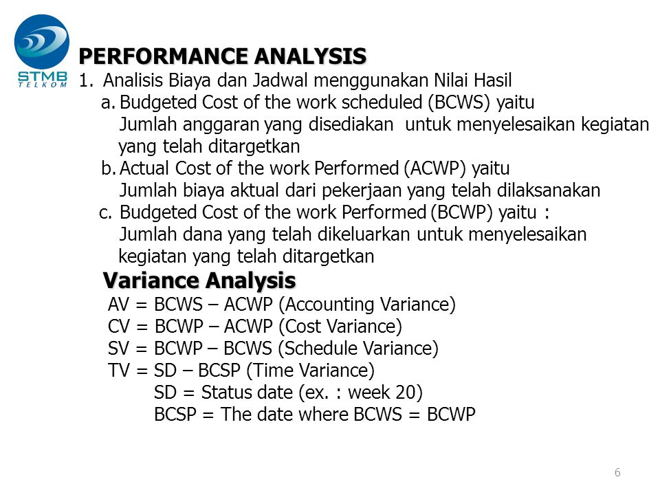 PERFORMANCE ANALYSIS Variance Analysis