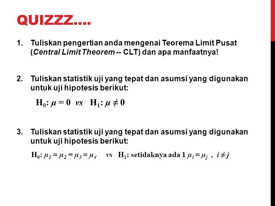 QUIZZZ…. Tuliskan pengertian anda mengenai Teorema Limit Pusat (Central Limit Theorem -- CLT) dan apa manfaatnya!