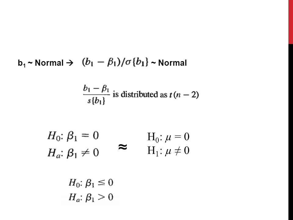 b1 ~ Normal  ~ Normal H0: µ = 0 H1: µ ≠ 0 ≈