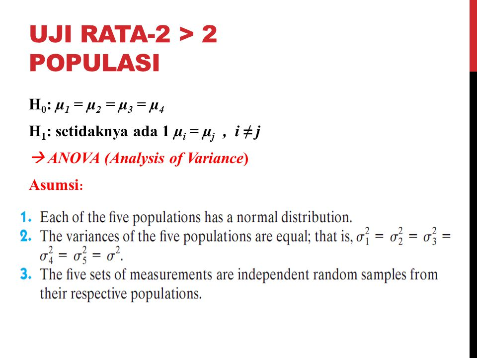 Uji rata-2 > 2 populasi