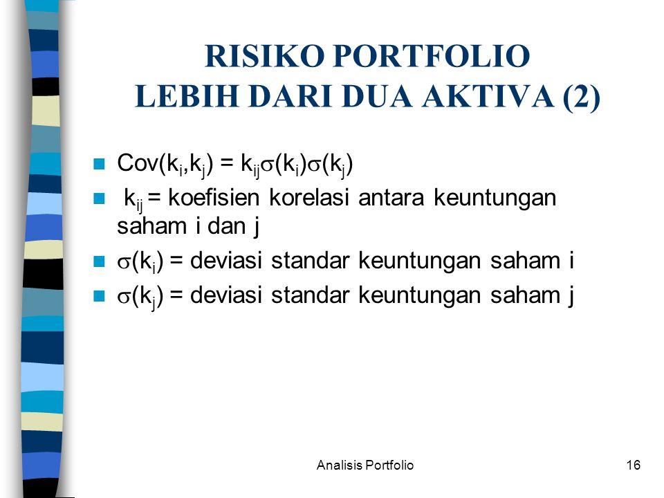RISIKO PORTFOLIO LEBIH DARI DUA AKTIVA (2)