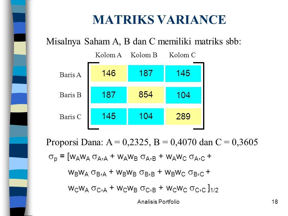 MATRIKS VARIANCE Misalnya Saham A, B dan C memiliki matriks sbb: