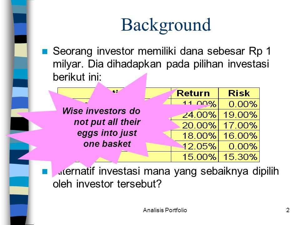 Wise investors do not put all their eggs into just one basket