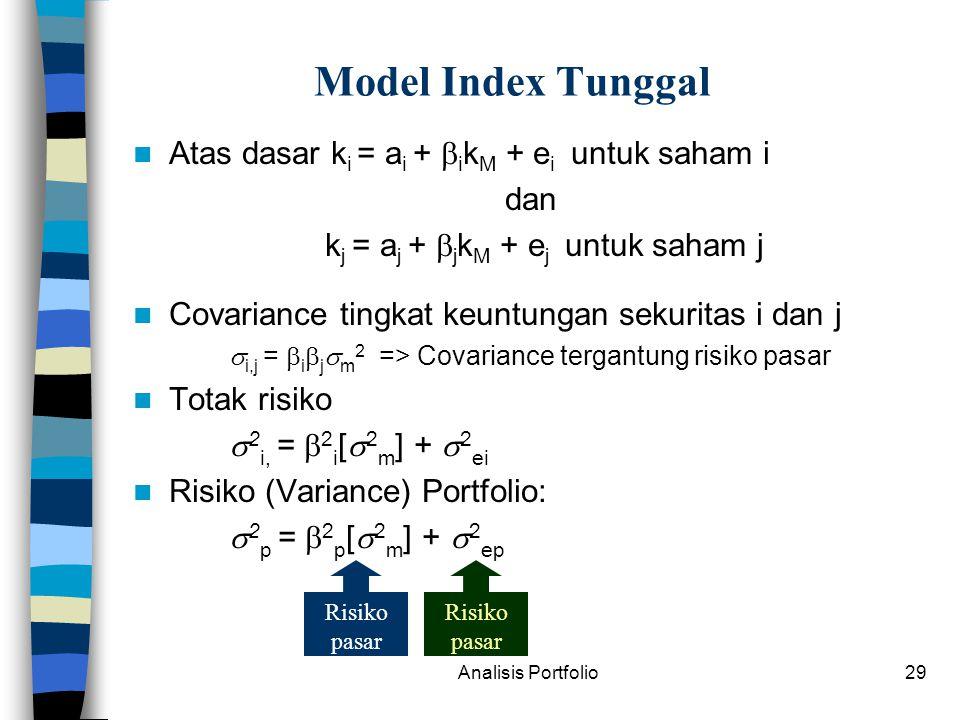 kj = aj + jkM + ej untuk saham j