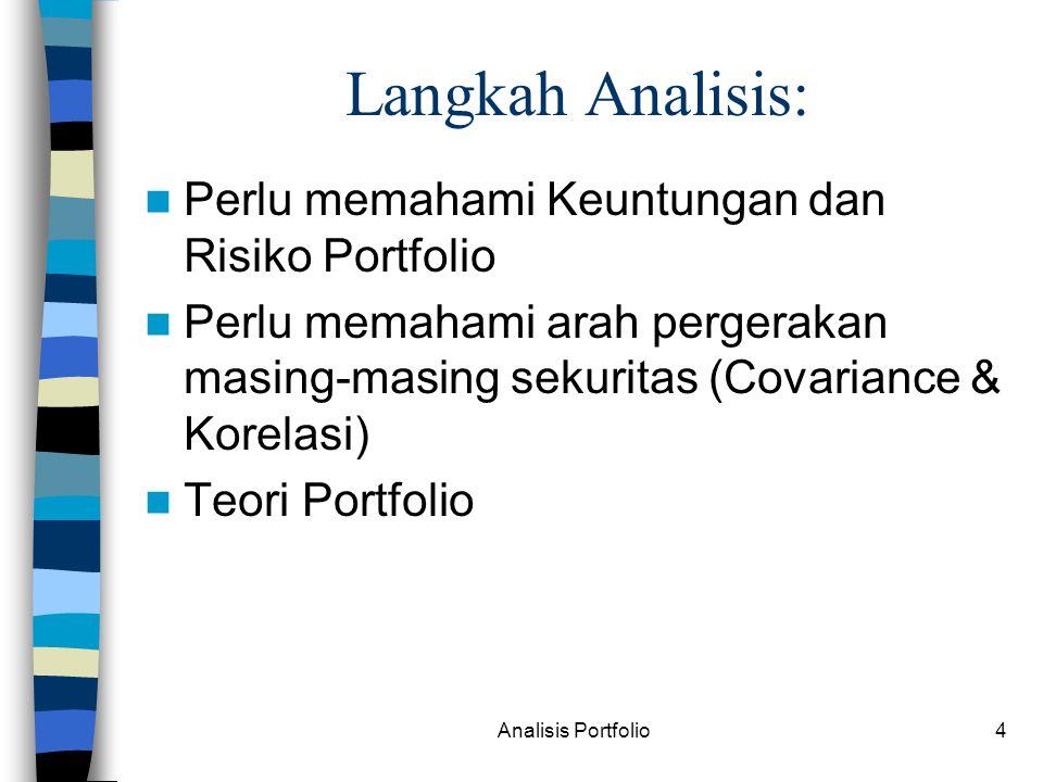Langkah Analisis: Perlu memahami Keuntungan dan Risiko Portfolio