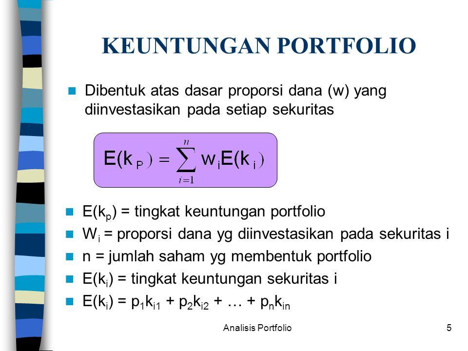 KEUNTUNGAN PORTFOLIO Dibentuk atas dasar proporsi dana (w) yang diinvestasikan pada setiap sekuritas.