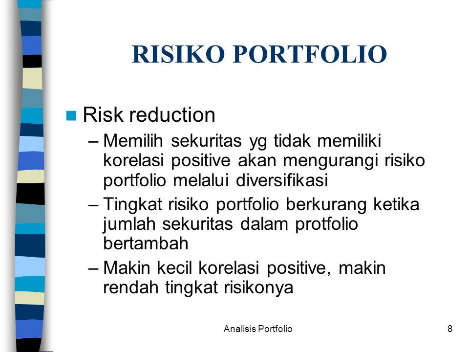RISIKO PORTFOLIO Risk reduction