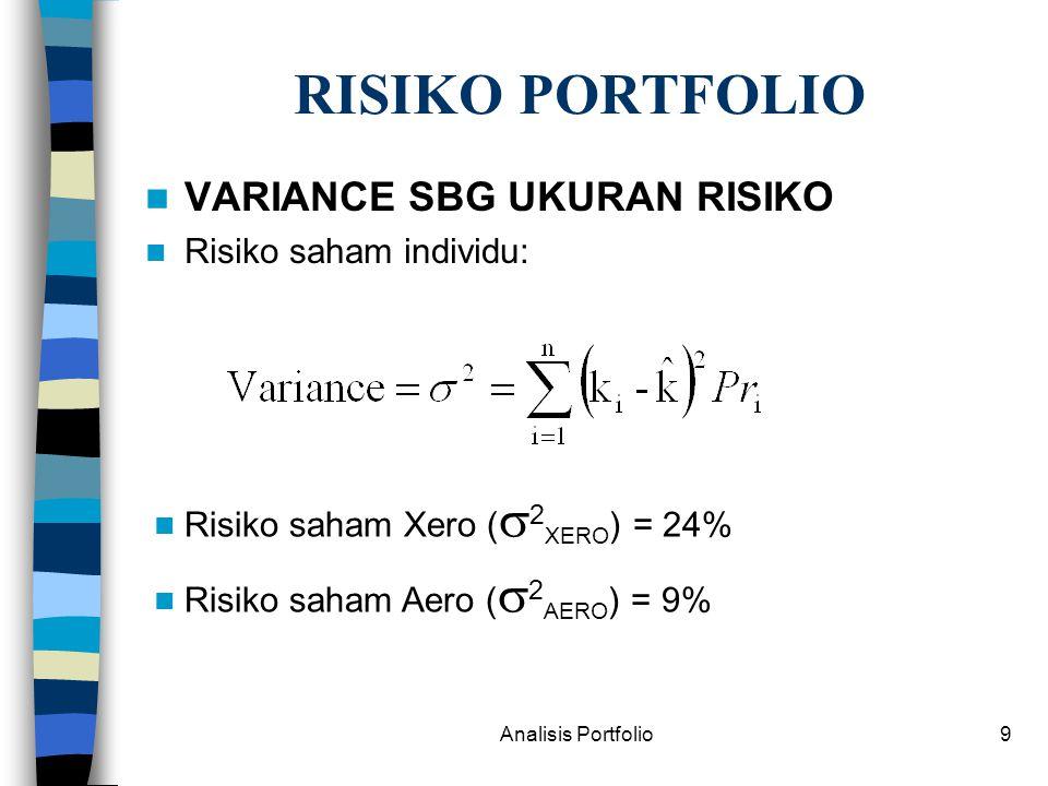 RISIKO PORTFOLIO VARIANCE SBG UKURAN RISIKO Risiko saham individu: