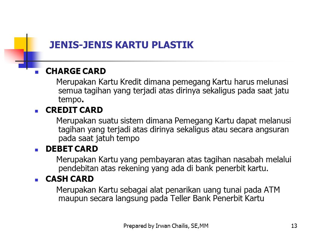 JENIS-JENIS KARTU PLASTIK