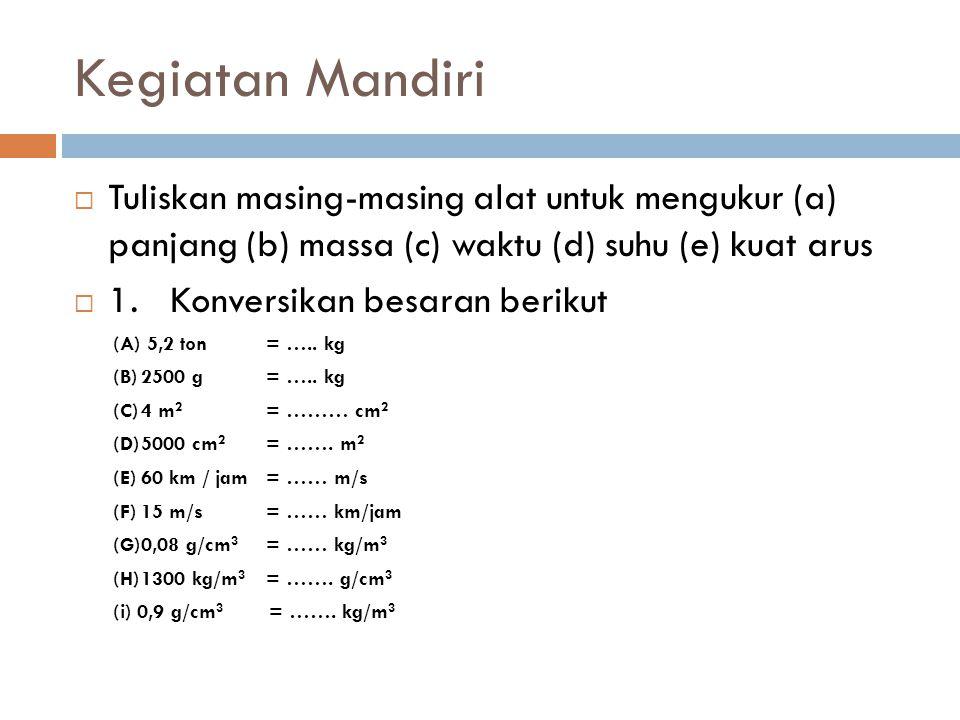 Kegiatan Mandiri Tuliskan masing-masing alat untuk mengukur (a) panjang (b) massa (c) waktu (d) suhu (e) kuat arus.
