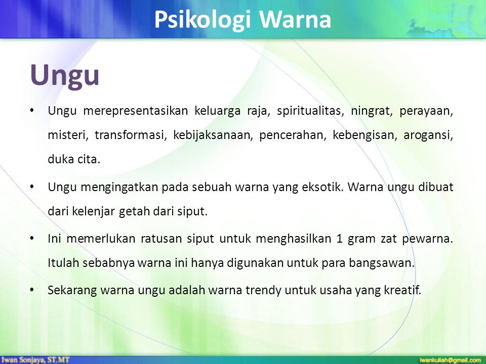 Psikologi Warna Ungu.