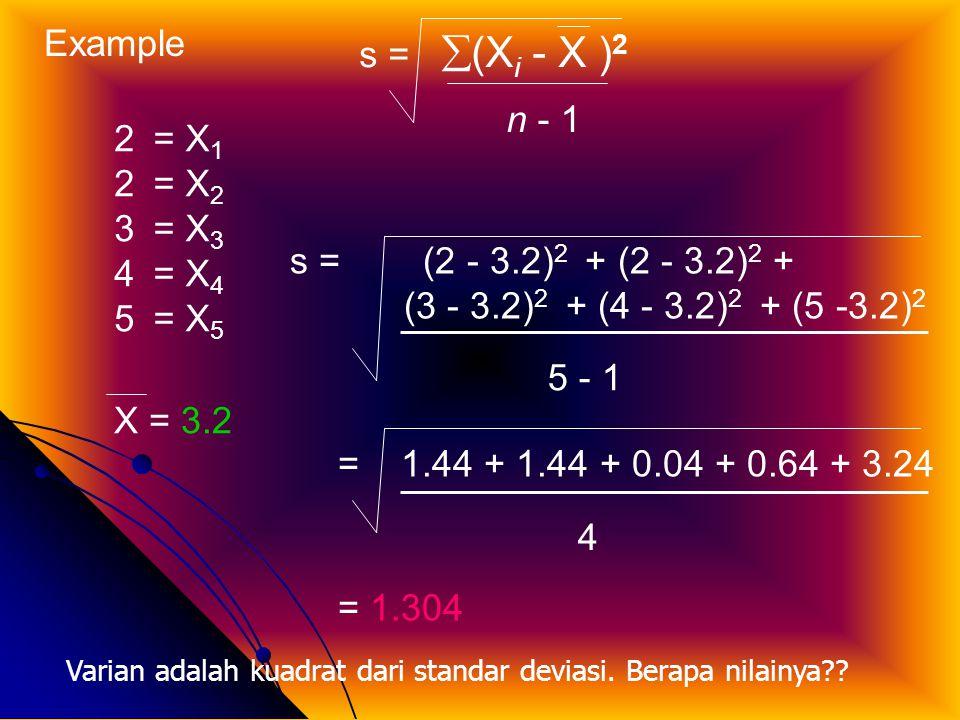 Example 2 3 4 5 = X1 = X2 = X3 = X4 = X5 s = (Xi - X )2 n - 1