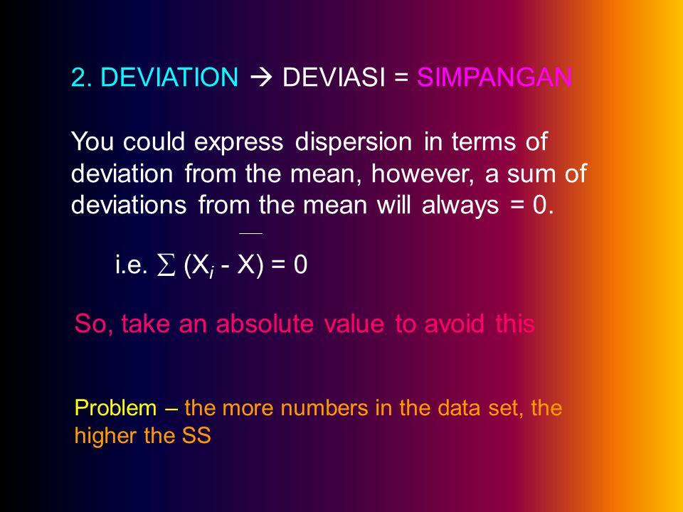 2. DEVIATION  DEVIASI = SIMPANGAN