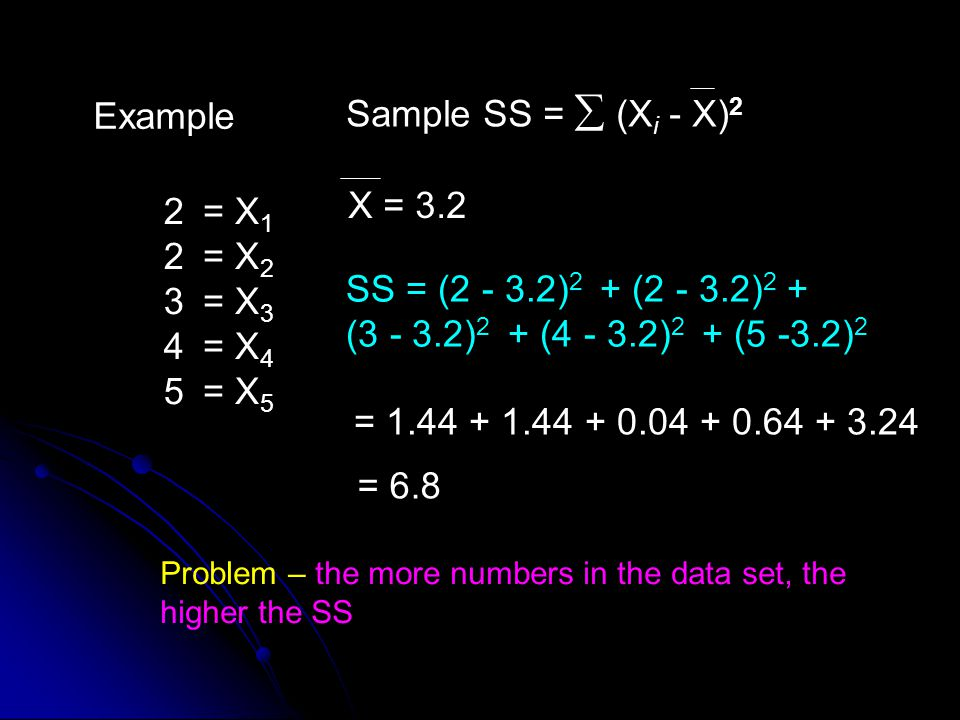 X = 3.2 Sample SS =  (Xi - X)2 Example 2 3 4 5 = X1 = X2 = X3 = X4