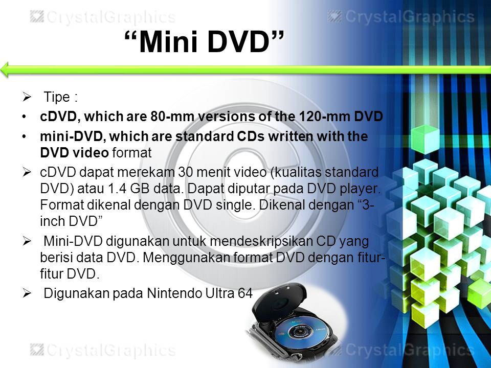 Mini DVD Tipe : cDVD, which are 80-mm versions of the 120-mm DVD