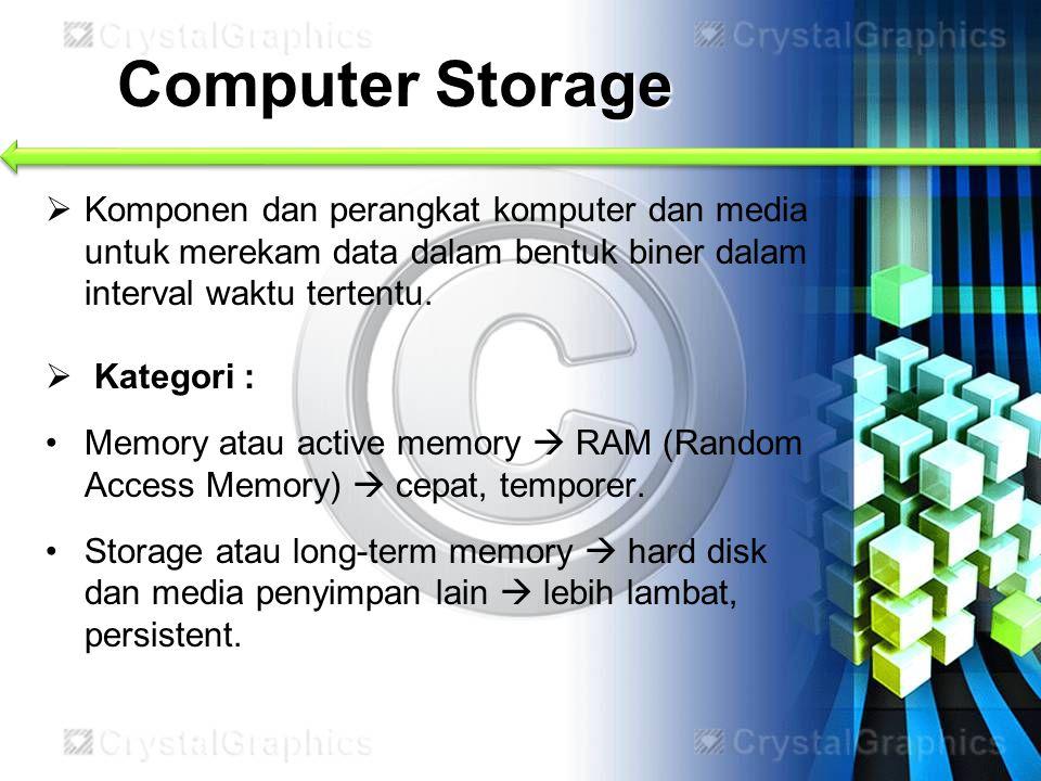 Computer Storage Komponen dan perangkat komputer dan media untuk merekam data dalam bentuk biner dalam interval waktu tertentu.