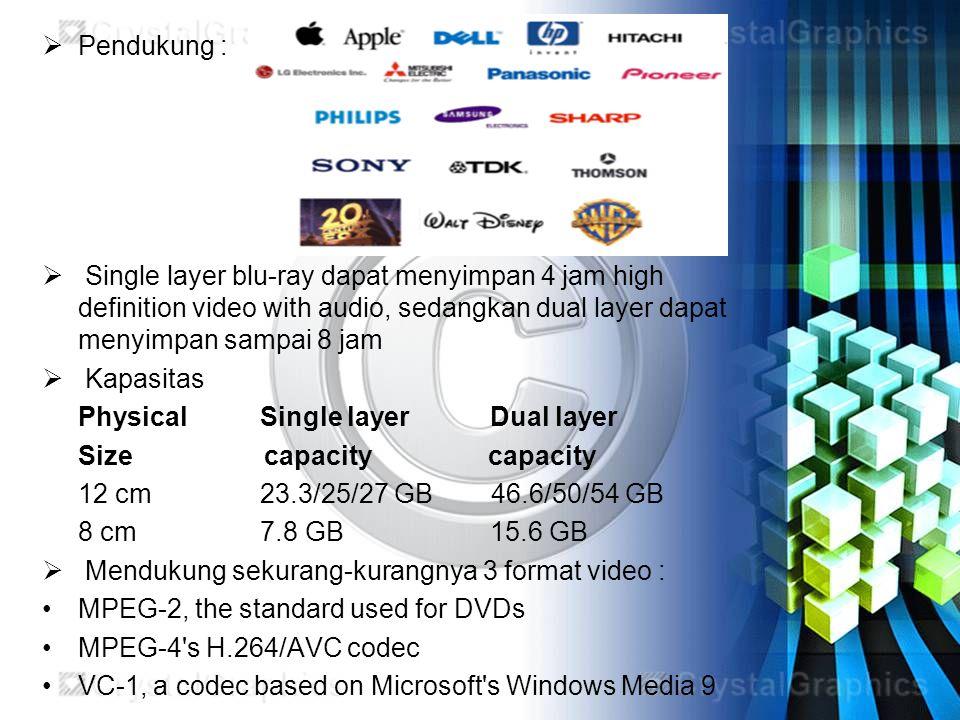 Pendukung : Single layer blu-ray dapat menyimpan 4 jam high definition video with audio, sedangkan dual layer dapat menyimpan sampai 8 jam.