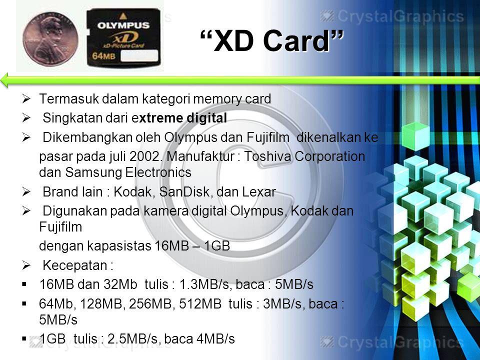 XD Card Termasuk dalam kategori memory card