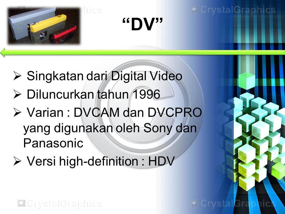 DV Singkatan dari Digital Video Diluncurkan tahun 1996