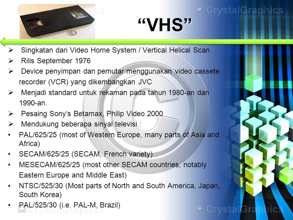 VHS Singkatan dari Video Home System / Vertical Helical Scan