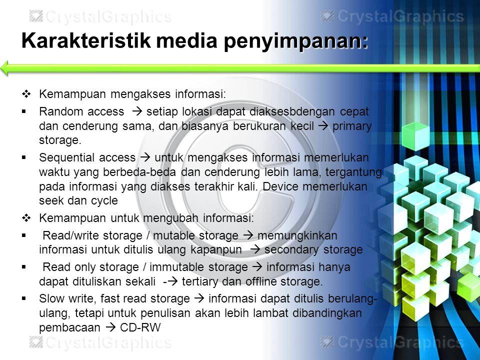 Karakteristik media penyimpanan: