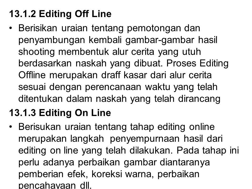 13.1.2 Editing Off Line