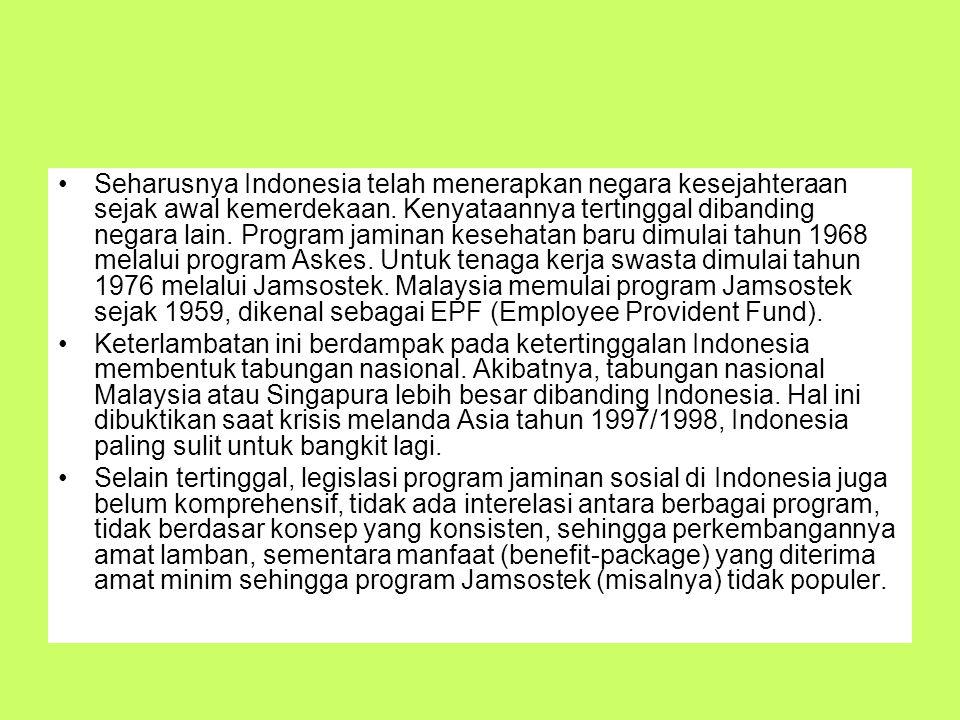 Seharusnya Indonesia telah menerapkan negara kesejahteraan sejak awal kemerdekaan. Kenyataannya tertinggal dibanding negara lain. Program jaminan kesehatan baru dimulai tahun 1968 melalui program Askes. Untuk tenaga kerja swasta dimulai tahun 1976 melalui Jamsostek. Malaysia memulai program Jamsostek sejak 1959, dikenal sebagai EPF (Employee Provident Fund).