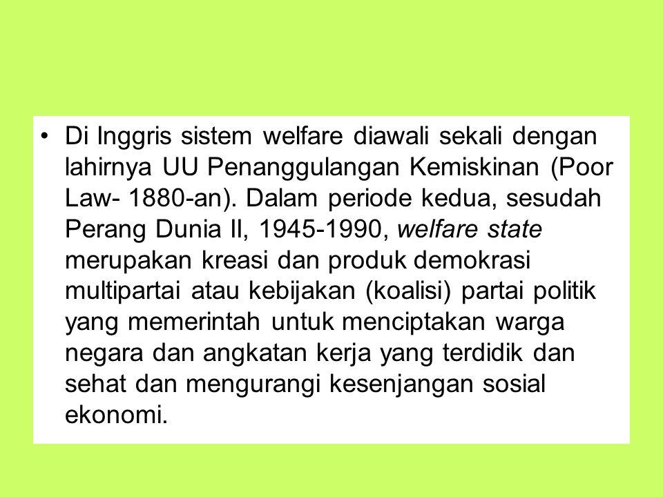 Di Inggris sistem welfare diawali sekali dengan lahirnya UU Penanggulangan Kemiskinan (Poor Law- 1880-an).