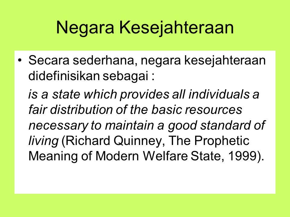 Negara Kesejahteraan Secara sederhana, negara kesejahteraan didefinisikan sebagai :