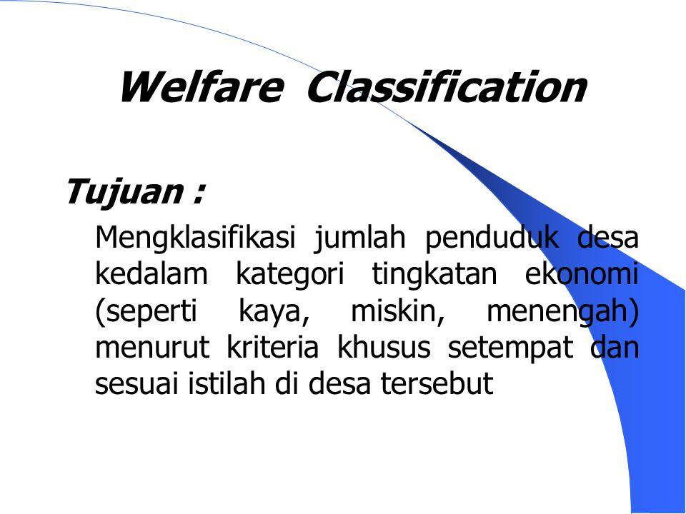 Welfare Classification