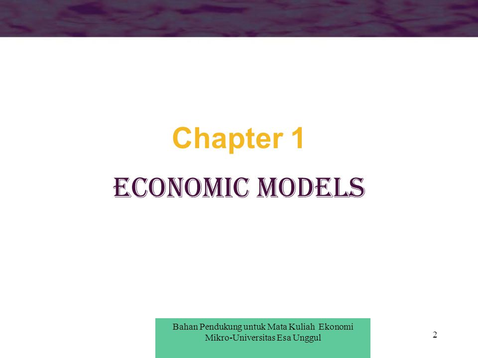 Chapter 1 ECONOMIC MODELS