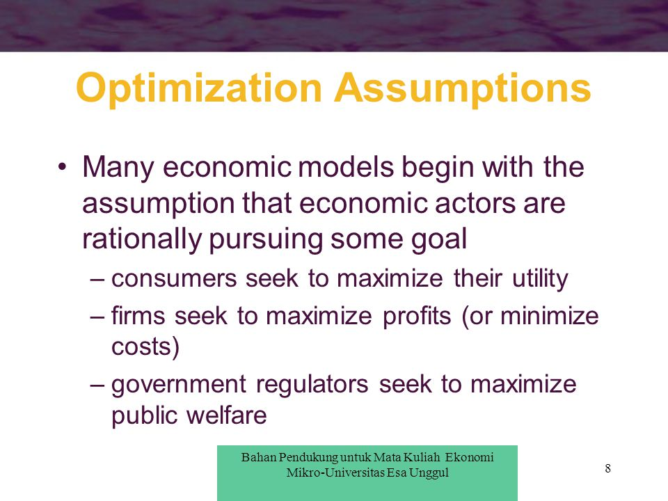 Optimization Assumptions