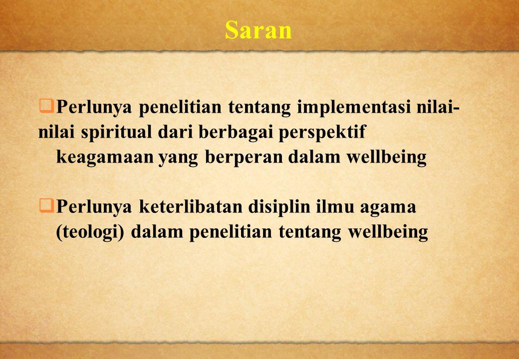 Saran Perlunya penelitian tentang implementasi nilai- nilai spiritual dari berbagai perspektif. keagamaan yang berperan dalam wellbeing.